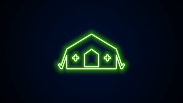 Glowing neon line Military medical tent providing first aid to a patient icon isolated on black background. Medical tent free aid to people. 4K Video motion graphic animation