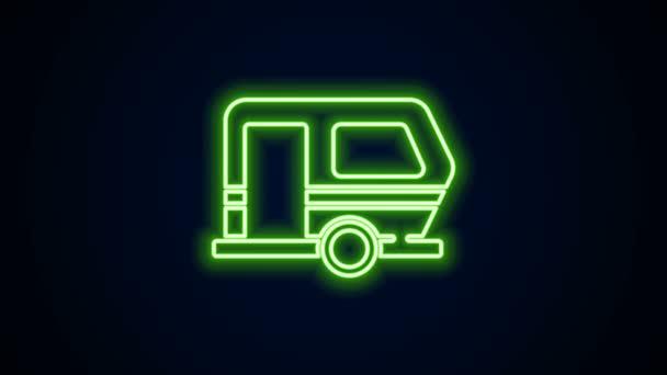 Žhnoucí neonová linie Rv Kempování přívěsu ikona izolované na černém pozadí. Cestovní karavan, karavan, obytný karavan na cestu. Grafická animace pohybu videa 4K