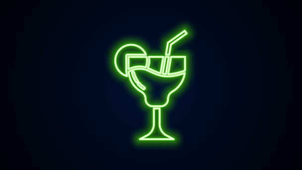 Žhnoucí neonová čára Koktejl a alkohol nápoj ikona izolované na černém pozadí. Grafická animace pohybu videa 4K