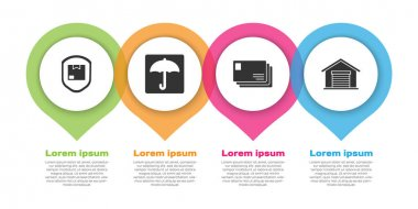 Set Delivery pack security with shield, Umbrella, Envelope and Warehouse. Business infographic template. Vector. icon