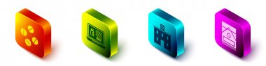 Set Isometric Medicine pill or tablet, Buying drugs online on laptop, Medical hospital building and Cigarettes pack box icon. Vector. icon