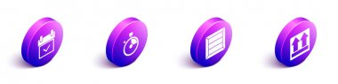 Set Isometric Calendar with check mark, Fast time delivery, Wooden box and This side up icon. Vector. icon