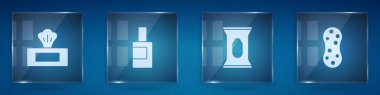 Set Wet wipe pack, Bottle for cleaning agent,  and Sponge. Square glass panels. Vector. icon