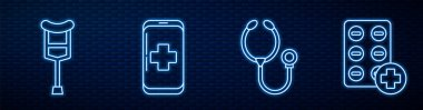 Set line Stethoscope, Crutch or crutches, Emergency mobile phone call to hospital, Pills in blister pack and Medicine pill or tablet. Glowing neon icon on brick wall. Vector. icon