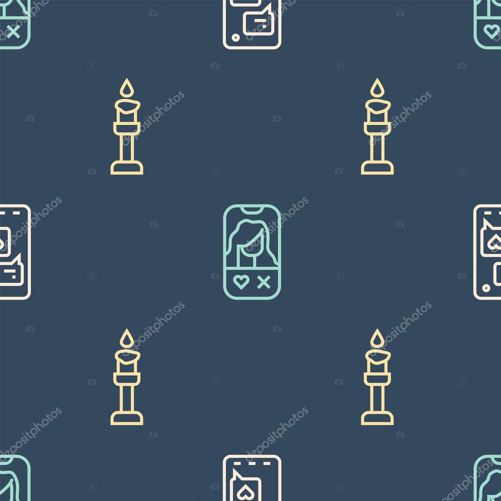 Set line Mobile with heart, Burning candle and Dating app online on seamless pattern. Vector. icon