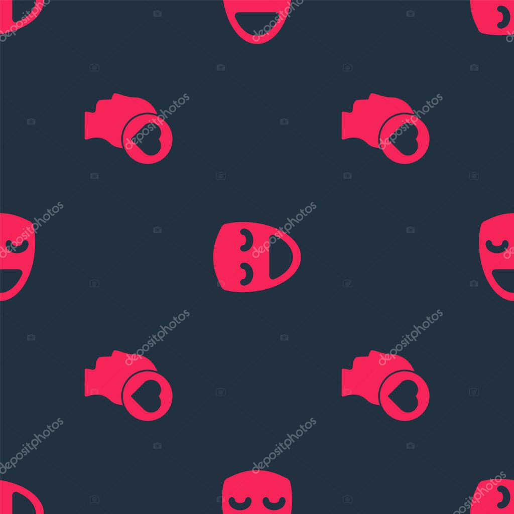 Set Broken heart or divorce and Comedy theatrical mask on seamless pattern. Vector. icon