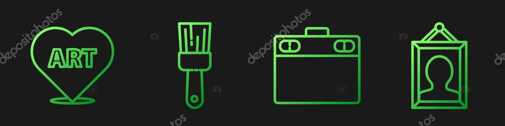 Set line Graphic tablet, Heart with text art, Paint brush and Picture. Gradient color icons. Vector. icon