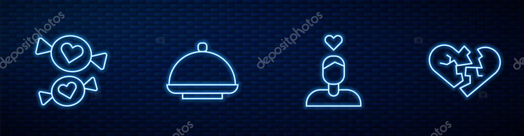 Set line Couple in love, Candy, Covered with tray and Broken heart or divorce. Glowing neon icon on brick wall. Vector. icon