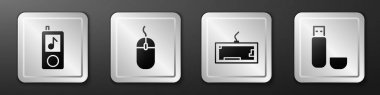 Set Music player, Computer mouse, Keyboard and USB flash drive icon. Silver square button. Vector. icon