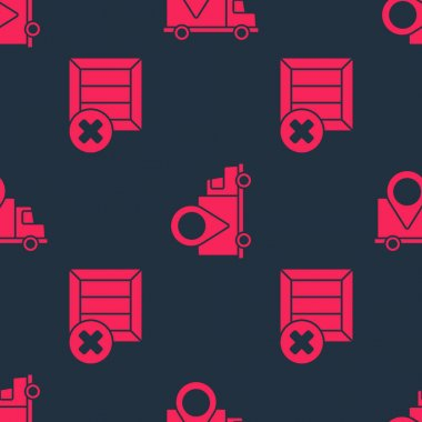 Set Wooden box and delete and Delivery tracking on seamless pattern. Vector. icon