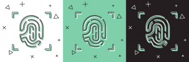 Set Fingerprint icon isolated on white and green, black background. ID app icon. Identification sign. Touch id.  Vector. icon