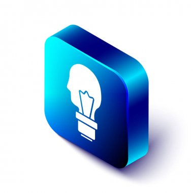 Isometric Light bulb with concept of idea icon isolated on white background. Energy and idea symbol. Inspiration concept. Blue square button. Vector. icon