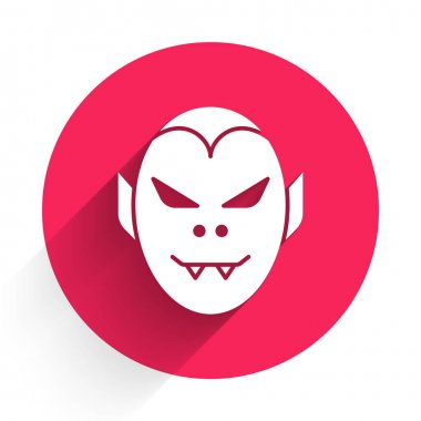 White Vampire icon isolated with long shadow. Happy Halloween party. Red circle button. Vector. icon