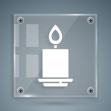 White Burning candle icon isolated on grey background. Cylindrical aromatic candle stick with burning flame. Happy Halloween party. Square glass panels. Vector. icon