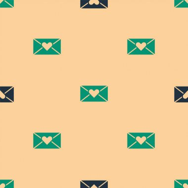 Green and black Envelope with Valentine heart icon isolated seamless pattern on beige background. Message love. Letter love and romance.  Vector. icon