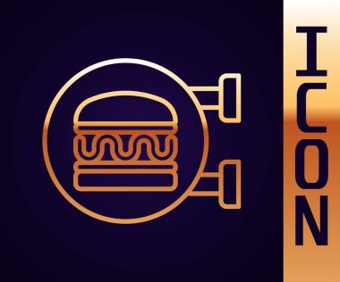 Gold line Online ordering and burger delivery icon isolated on black background.  Vector. icon