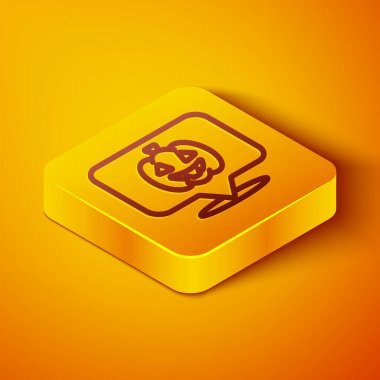 Isometric line Pumpkin icon isolated on orange background. Happy Halloween party. Yellow square button. Vector. icon