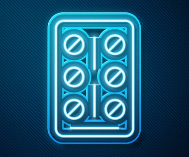 Glowing neon line Pills in blister pack icon isolated on blue background. Medical drug package for tablet, vitamin, antibiotic, aspirin.  Vector. icon