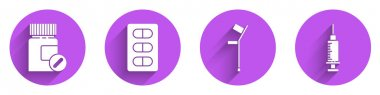 Set Medicine bottle and pills, Pills in blister pack, Crutch or crutches and Syringe icon with long shadow. Vector. icon