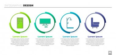 Set Closed door, Smart Tv, Shower and Armchair. Business infographic template. Vector. icon