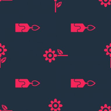 Set Burning candle and Flower on seamless pattern. Vector. icon