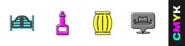 Set Saloon door, Tabasco sauce, Gun powder barrel and Location cowboy icon. Vector. icon