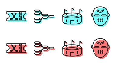 Set line Hockey stadium, Hockey sports ticket, Championship tournament bracket and Hockey mask icon. Vector. icon