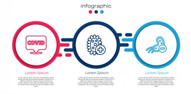 Set line Corona virus covid-19 on location, Positive and Negative. Business infographic template. Vector. icon