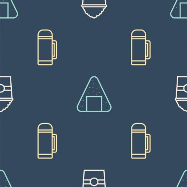 Set line Popcorn in box, Thermos container and Onigiri on seamless pattern. Vector. icon