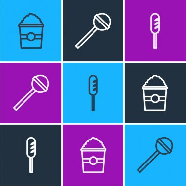 Set line Popcorn in box, Fried sausage and Lollipop icon. Vector. icon