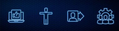 Set line Team leader, Hand like, Head hunting and Project team base. Glowing neon icon on brick wall. Vector. icon