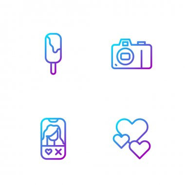 Set line Heart, Dating app online, Ice cream and Photo camera. Gradient color icons. Vector. icon