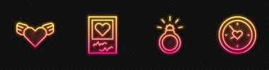 Set line Diamond engagement ring, Heart with wings, Photo frames and hearts and Clock. Glowing neon icon. Vector. icon