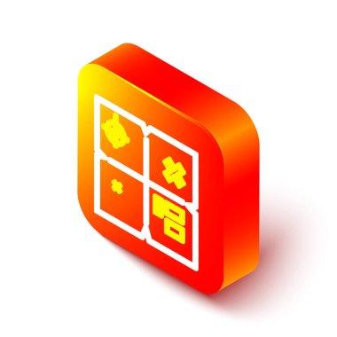 Isometric line Treasure map icon isolated on white background. Orange square button. Vector Illustration. icon