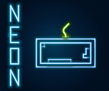 Glowing neon line Computer keyboard icon isolated on black background. PC component sign. Colorful outline concept. Vector Illustration. icon