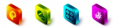 Set Isometric Human and virus, Medicine pill or tablet, Pills in blister pack and Virus icon. Vector. icon