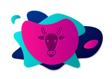 Color Cow head icon isolated on white background. Abstract banner with liquid shapes. Vector. icon