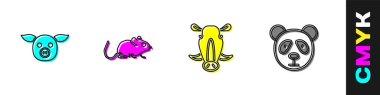 Set Pig, Rat, Wild boar head and Cute panda face icon. Vector. icon