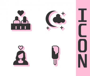 Set Ice cream, Couple in love,  and Moon and stars icon. Vector. icon