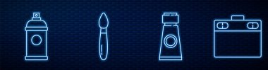Set line Tube with paint palette, Paint spray can, Paint brush, Graphic tablet and Push pin. Glowing neon icon on brick wall. Vector. icon