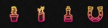 Set line Tabasco sauce, Cactus peyote in pot, Quiver with arrows and Horseshoe. Glowing neon icon. Vector. icon