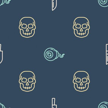 Set line Knife, Skull and Eye on seamless pattern. Vector. icon