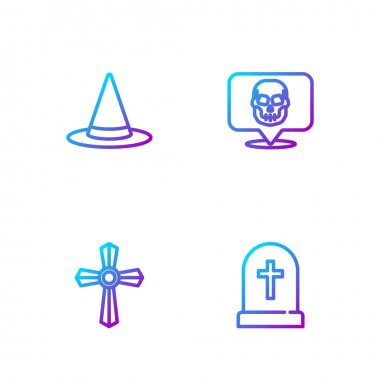 Set line Tombstone with cross, , Witch hat and Skull. Gradient color icons. Vector. icon