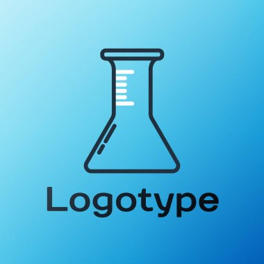 Line Test tube and flask icon isolated on blue background. Chemical laboratory test. Laboratory glassware. Colorful outline concept. Vector Illustration. icon