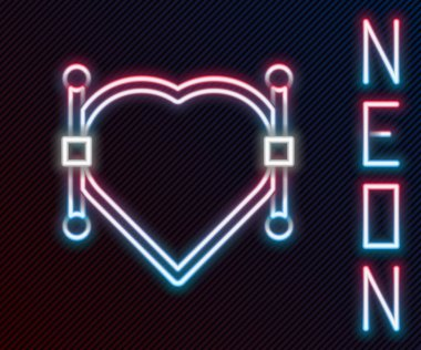 Glowing neon line Heart with Bezier curve icon isolated on black background. Pen tool icon. Colorful outline concept. Vector Illustration. icon