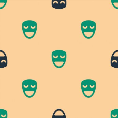 Green and black Comedy theatrical mask icon isolated seamless pattern on beige background.  Vector. icon