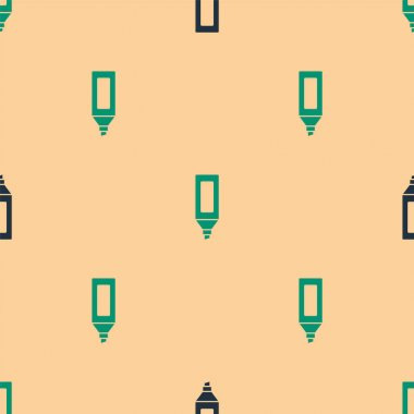 Green and black Marker pen icon isolated seamless pattern on beige background.  Vector. icon