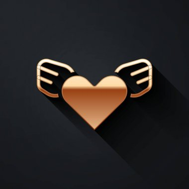 Gold Heart with wings icon isolated on black background. Love symbol. Valentines day. Long shadow style. Vector. icon