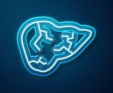 Glowing neon line Hepatitis virus on the human liver icon isolated on blue background. World Hepatitis Day.  Vector. icon