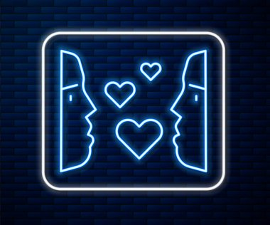 Glowing neon line Love at first sight icon isolated on brick wall background.  Vector. icon